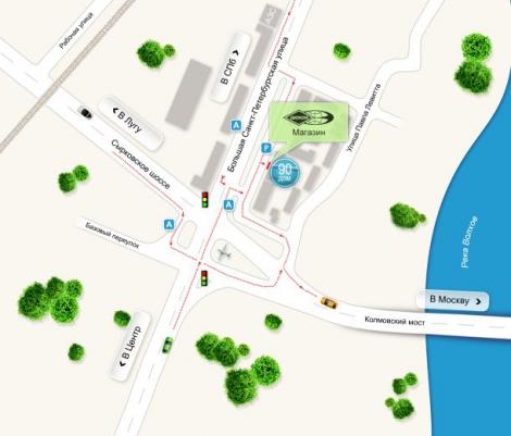 Схема проезда к офису и складу оборудования и материалов для шиномонтажа ТЕСН в Великом Новгороде.